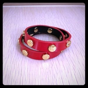 Tory Burch Double bracelet Red with gold